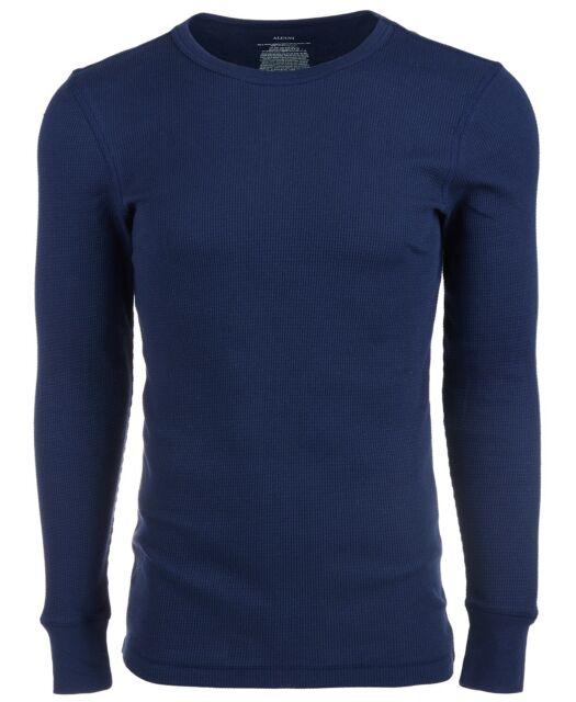 Alfani Mens T-Shirt Midnight Blue Size 2XL Long Sleeve Crewneck Thermal Tee #051