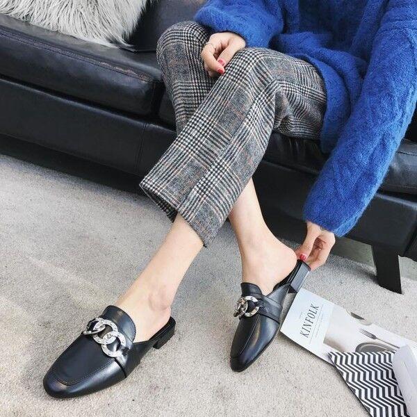 Sandaleen slippers spring schwarz designs low mode like Leder elegant 9742