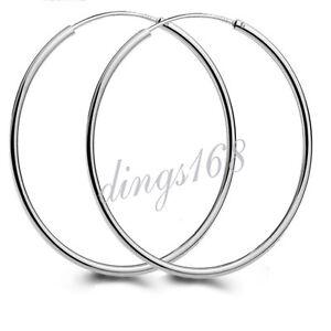 Ladies-925-Sterling-Silver-55mm-2-1-inch-Large-1-5mm-Thin-Hoop-Earrings-H583