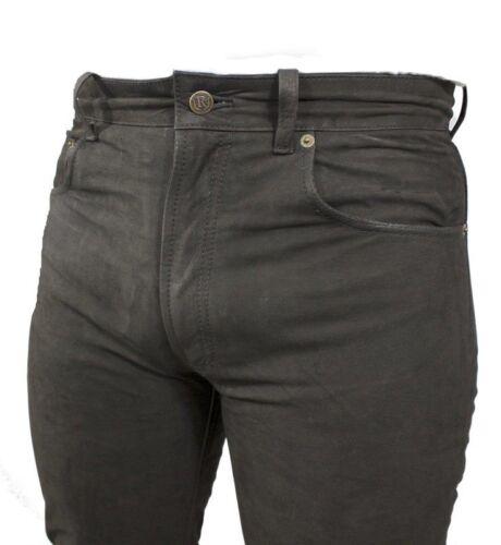 Herren-Lederhose 501 Five Pocket Lederjeans Büffel-Nubukleder Echtleder schwarz