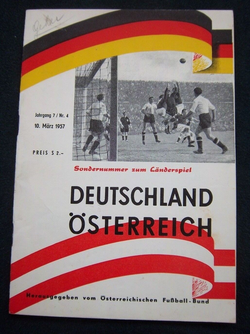 Original PRG    10.03.1957   ÖSTERREICH - DEUTSCHLAND      EXTREM SELTEN