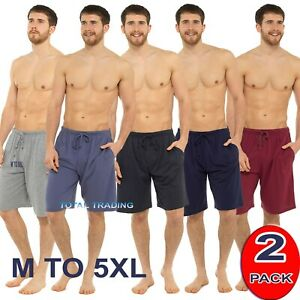 Mens 2 - Pack Sleep Night Wear Pyjamas PJ Bottoms Lounge ShortS WITH POCKETS