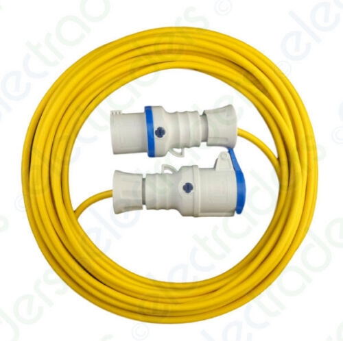 10 Metre Yellow Hook Up Extension Cable 1.5mm 16A Blue Plug /& Socket