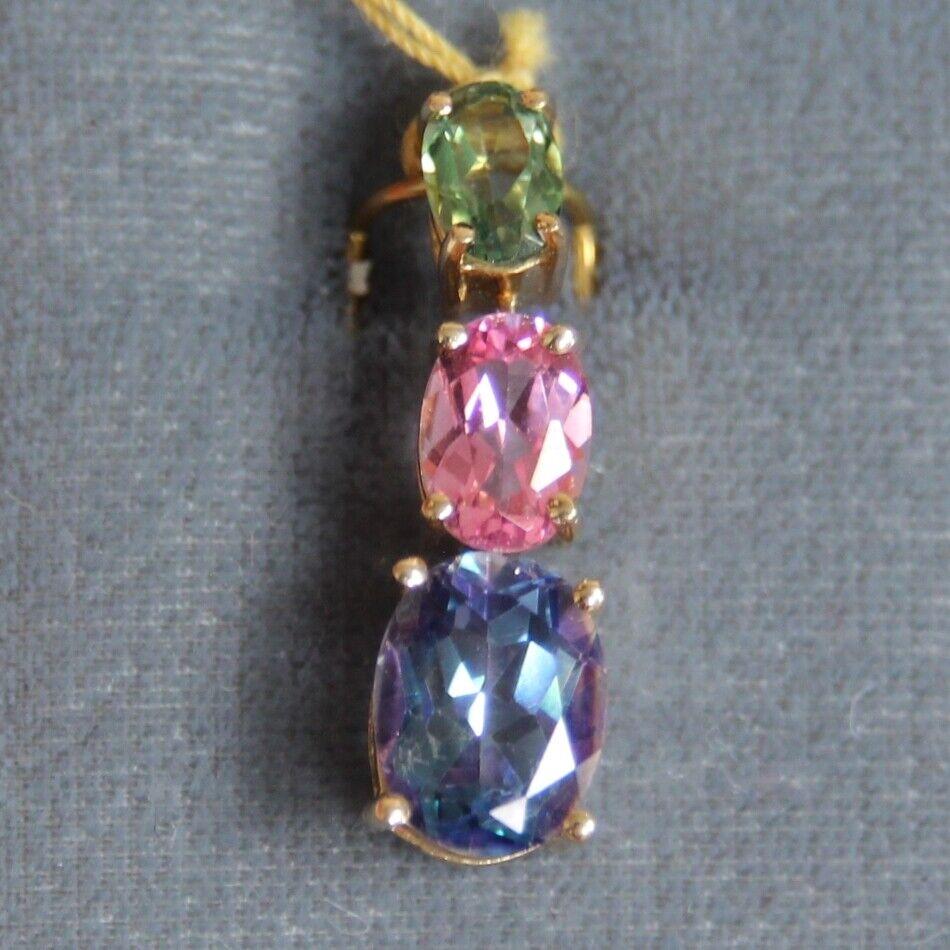 Three Stone Oval Journey 14K Yellow gold Pendant Brand New 3 Stone