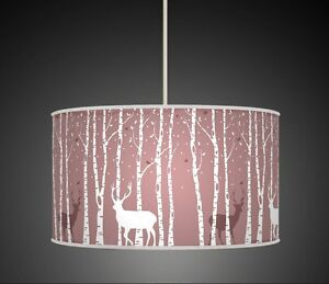 Mauve lilac stag deer trees handmade lampshade fabric pendant light image is loading mauve lilac stag deer trees handmade lampshade fabric aloadofball Image collections
