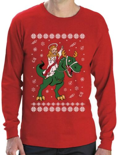 Jesus Ride T-Rex Dinosaur Funny Raptor Ugly Christmas Long Sleeve T-Shirt Gift