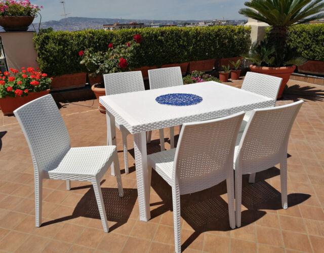 Tavoli E Sedie In Plastica Da Giardino.Vidaxl Set Salotto Da Giardino 4pz Plastica Bianco Divano Sedie