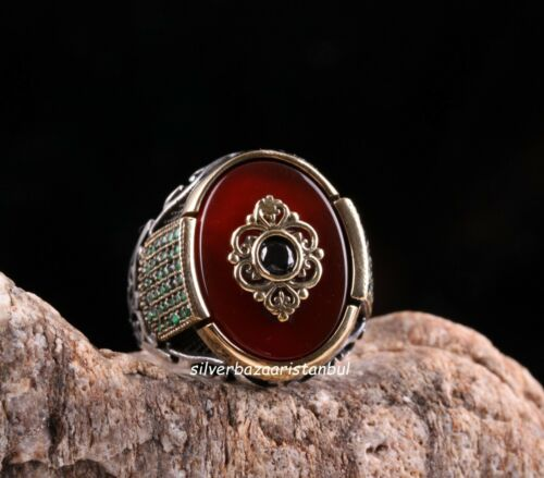 Turkish  925 Sterling Silver Red Agate Aqeeq Multi Stone Mens Ring ALL SİZE USA