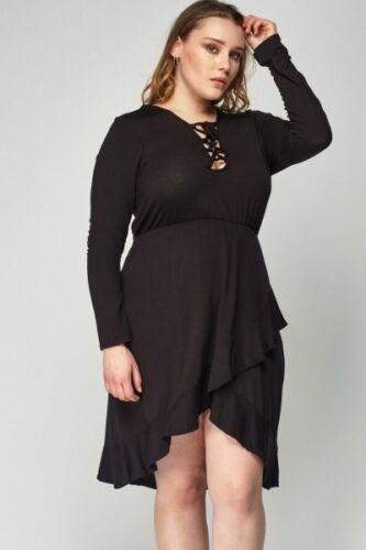 Kleid Gr.46 Sommerkleid Stretchkleid Damen schwarz Kurzkleid Wickelkleid Neu