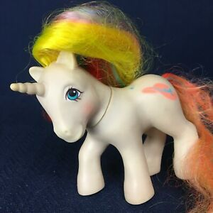 Vintage My Little Pony Bouquet Unicorn Brush and Go 1985 G1 Hong Kong White Hat