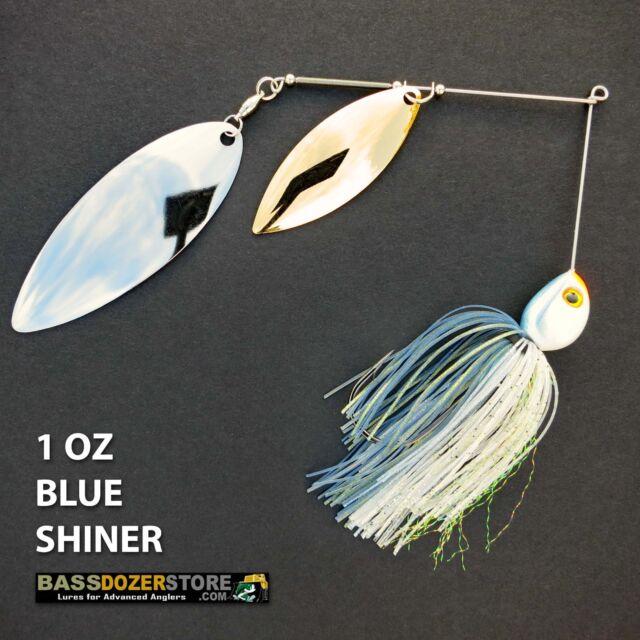 Bassdozer spinnerbaits BIG WILLOW DOUBLE 1 oz BLUE SHINER spinner bait baits