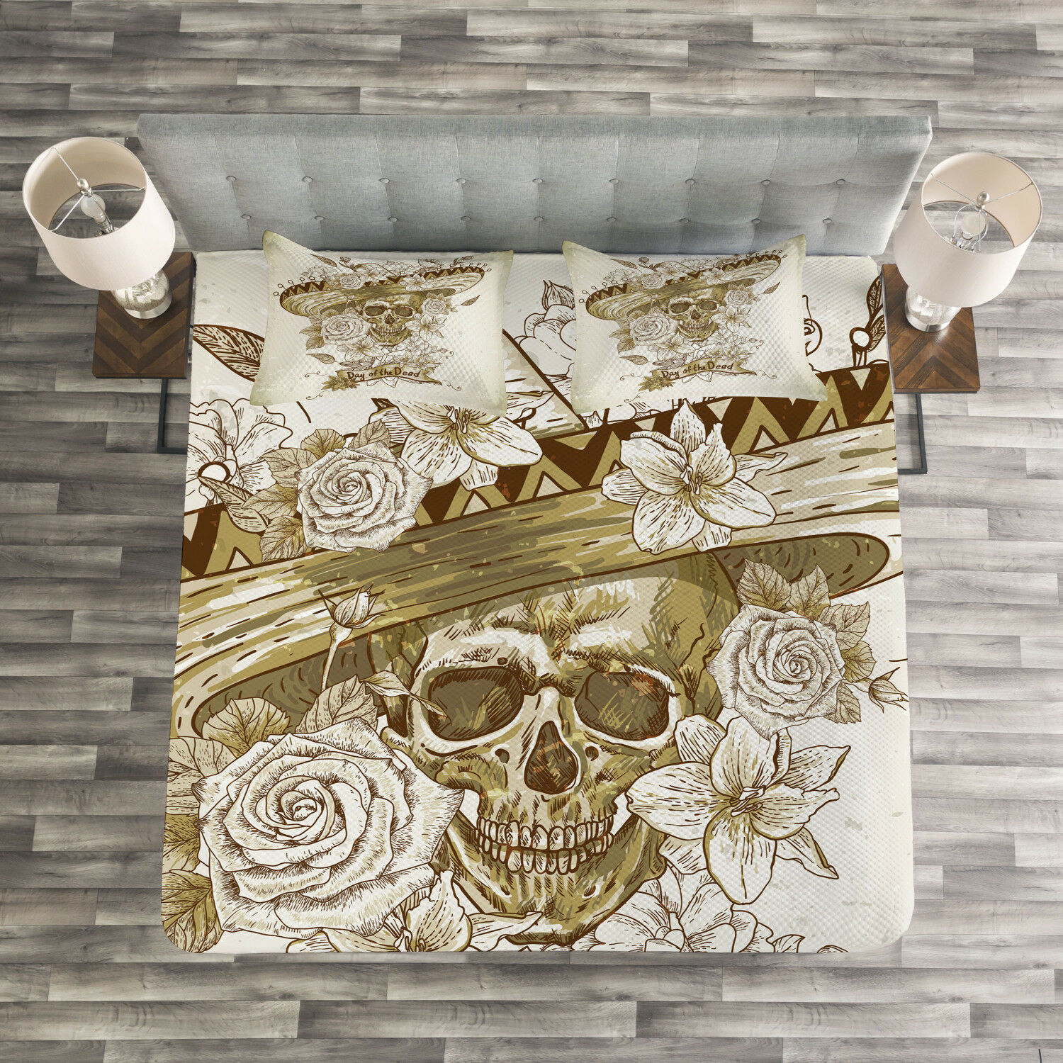 Wooden Quilted Bedspread & Pillow Shams Set, Spanish Dead Hat Print