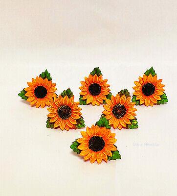 6pcs Daisy Sunflower Vintage Kitchen Resin Cabinet Knobs Drawer Pulls Home Decor Ebay