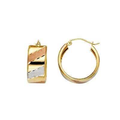 14k Yellow Gold 2mm Thickness Endless Diamond Cut Hoop Earrings Diameter 18mm