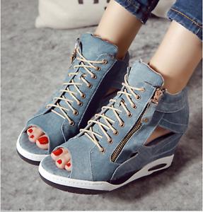 Denim Womens High Hidden Wedge Heel Sneakers Hollow Open Toe Lace Up Zip Shoes E