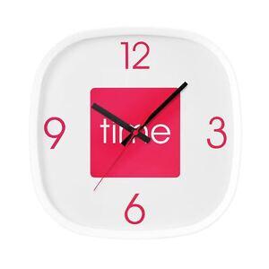 Reloj-De-Pared-arco-color-de-rosa-caliente-Plastico-Cuadrado-Reloj-De-Pantalla-Analogica