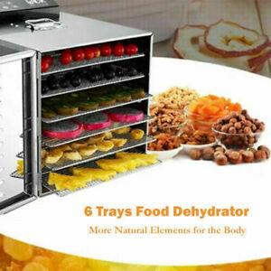 Food-Dehydrator-6-Tier-Stainless-Steel-Fruit-Jerky-Meat-Dryer-Blower-Commercial