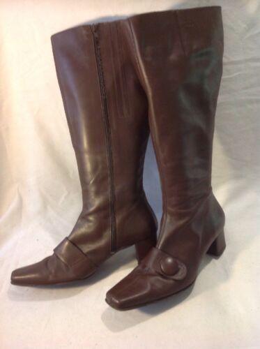 Stivali alti in pelle marrone Duo taglia 38 L