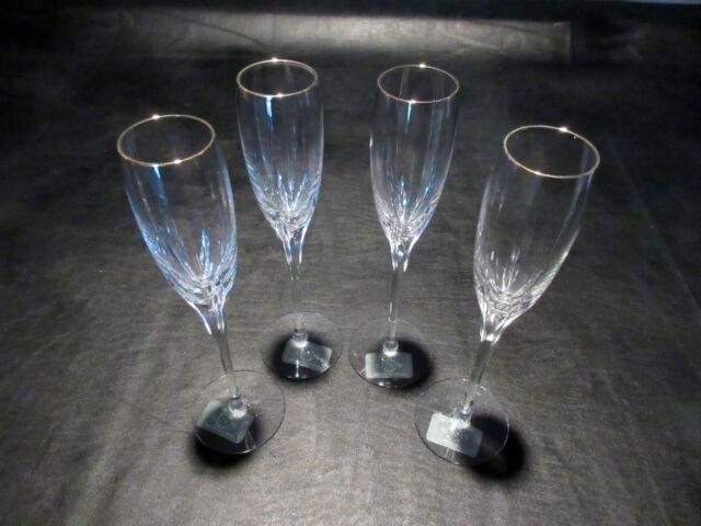Lenox Firelite Gold Champagne Crystal Flute NEW (Set of 4)