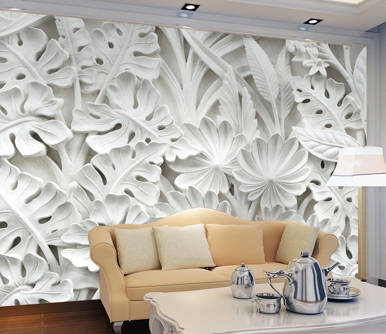 3D Weiß Blätter Pflanze Relief 3 Tapete Wandgemälde Tapete Tapeten Familie Kinde