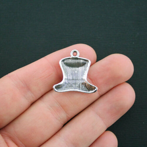 8 Top Hat Charms Antique Silver Tone Tophat with Stars USA Charms SC4465