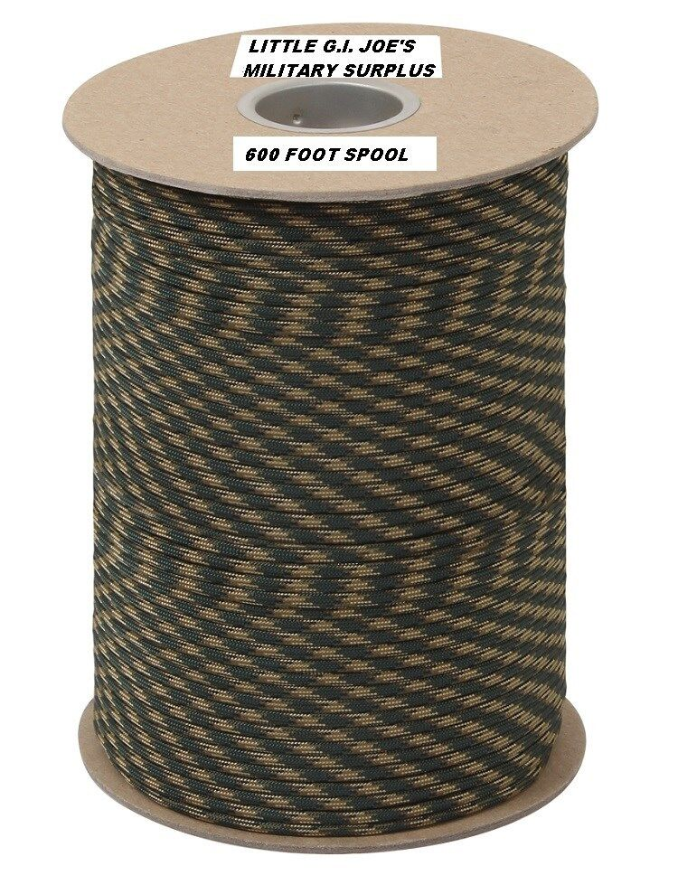 Camouflage 550LB 7 Strand 100% Nylon MadeUSA Parachute Paracord 600 FT Spool 323