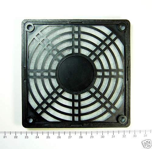 1pc 8x8cm ABS Plastic Fan Grill with Filter Color=Black Taiwan for 8cm Fan