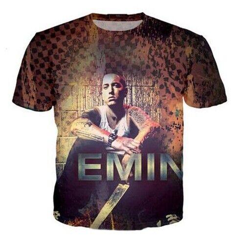 Women Men Casual 3D Print T-Shirt Short Sleeve Tops Music Rap God Eminem Tee
