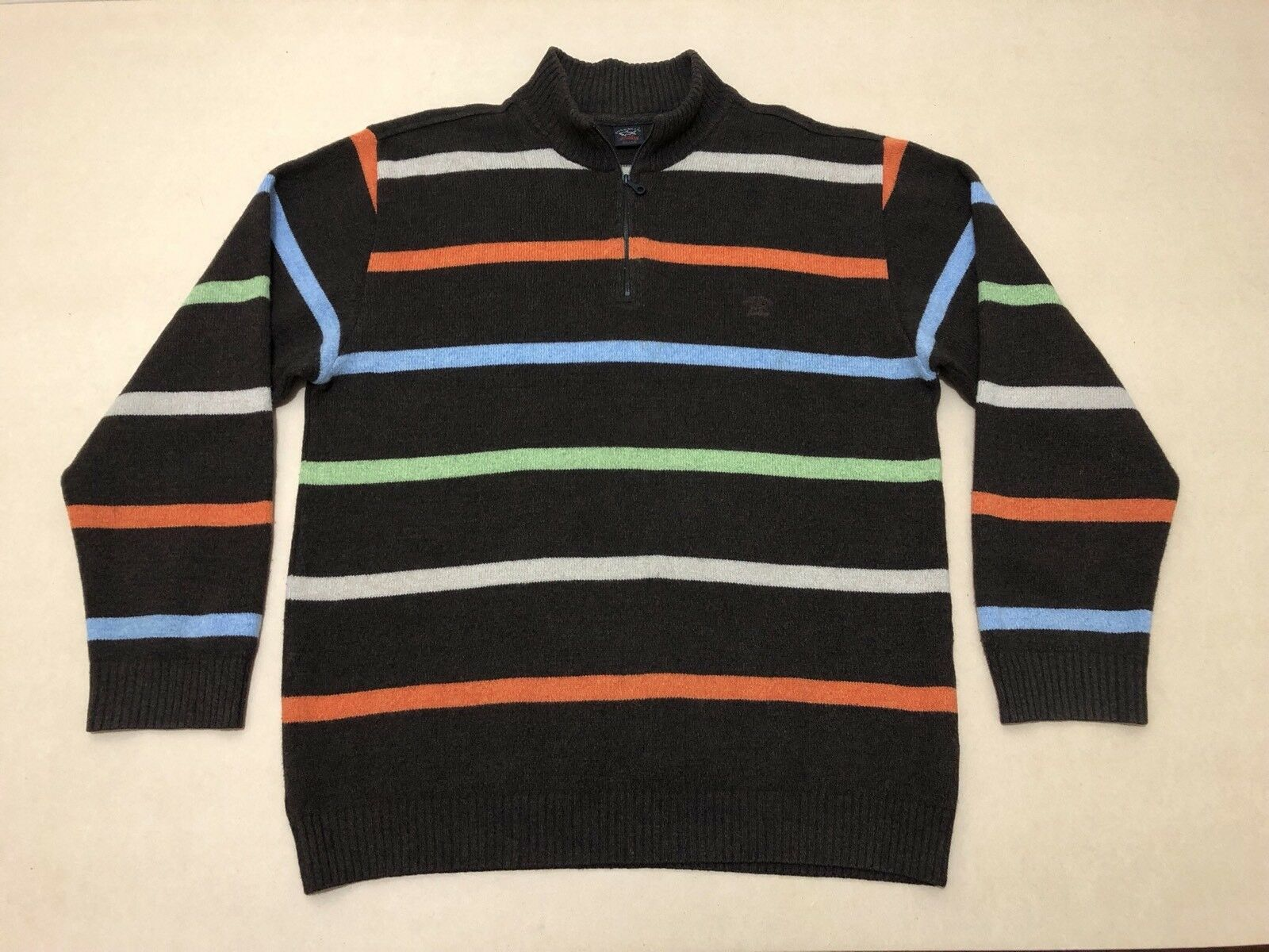 PAUL & SHARK JUMPER SWEATER  Herren  SIZE LARGE  GREAT COND 1/4 ZIP UP STRIPES