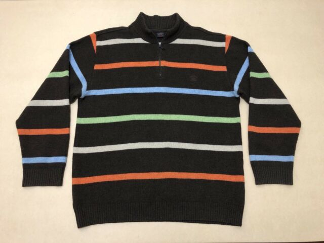 PAUL & SHARK JUMPER SWEATER MENS ~ SIZE LARGE ~ GREAT COND 1/4 ZIP UP STRIPES