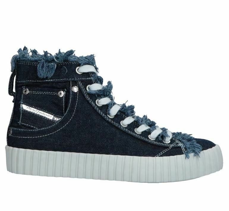 DIESEL Damen Turnschuhe Schuhe Exposure CMC W High Jeans Look Gr 37 blau weiß NEU