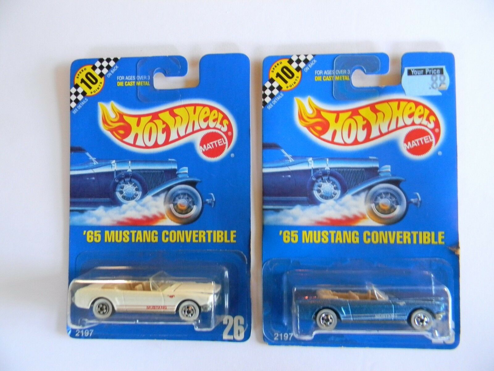 PAIR-RARE- '65 MUSTANG CONgreenIBLE- blueE CARD-HOT WHEELS-ORIGINAL-VHTFVARI.