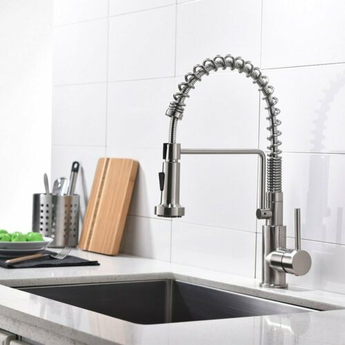 Kitchen Faucet Stainless Steel Sink Tap Single Handle Pull Down Sprayer w// Cover