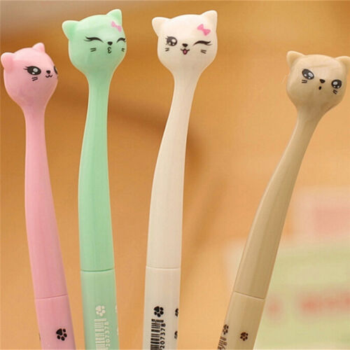 5X Cute Cat Random Kawaii Fun pens black Gel ink Roller Ball Point Pen Set YJCA