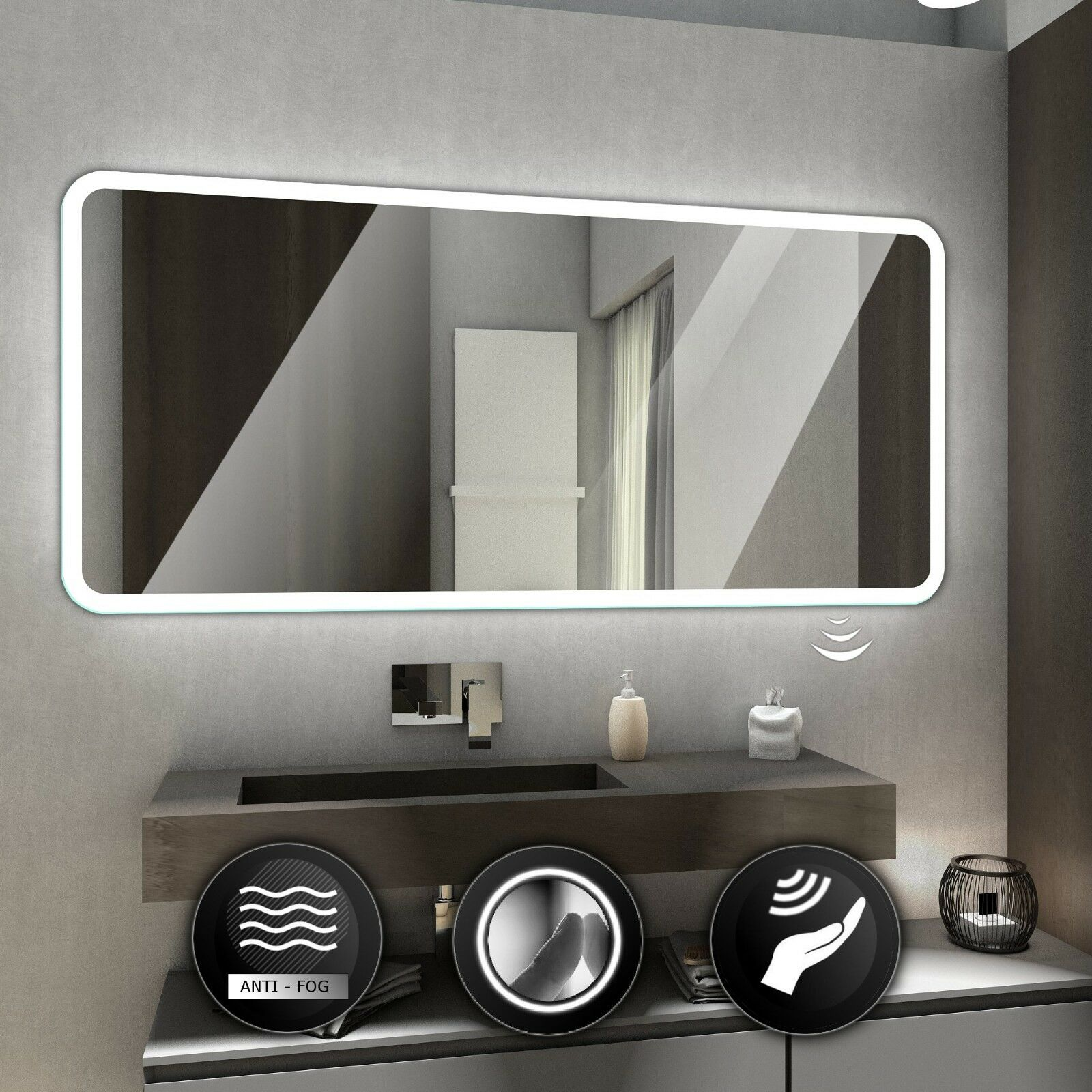 Osaka Illuminated DEL Bathroom Mirror Wall Mirrors   Commutateurs   Demister