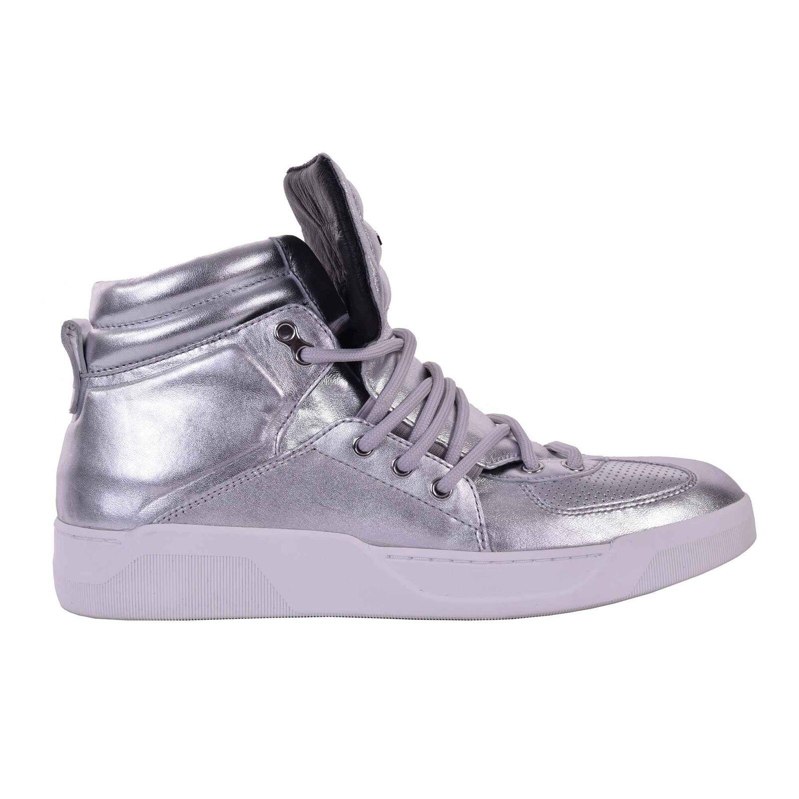 DOLCE & GABBANA Nappa Leder High-Top Sneakers Schuhe BENELUX Silber Grau 05936