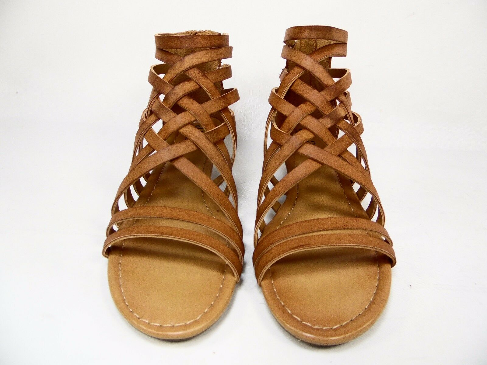 A.n.a Gilly Womens Wedge Sandals Cognac Size 6M
