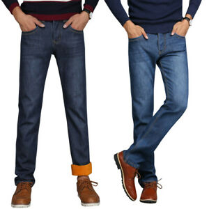 Mens-Winter-Jeans-Fleece-Pants-Thick-Thermal-Warm-Lined-Thick-Jeans-Trousers
