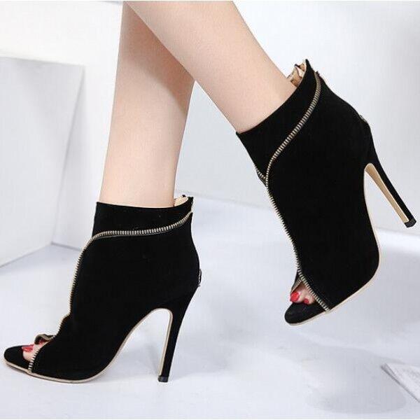 Sandali stivaletti estivi comodi stiletto 12 cm eleganti nero simil pelle 8272