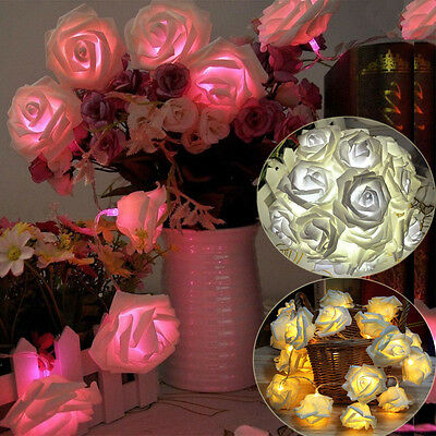 New 20 LED Battery Rose Flower String Lights Wedding Party Christmas Decoration