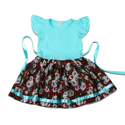 New Floral Girls Party Dress in Pink Blue 12-18 18-24 Months 2-3 3-4 Years