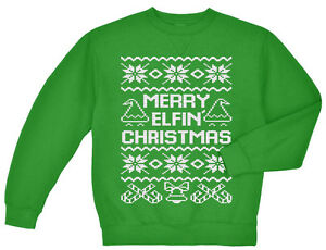 Details about Ugly Christmas sweater Merry Elfin Xmas elf design happy holidays gift for men