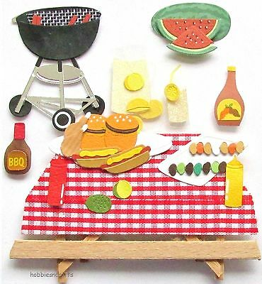 EK SUCCESS JOLEE'S BOUTIQUE 3-D STICKERS  FOOD BURGERS HOT DOGS  - PICNIC TIME