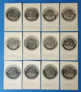 Set-of-12-Vintage-Art-Postcards-Luca-Della-Robbia-039-s-Roundels-with-the-Months-BH5