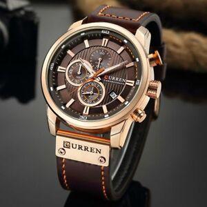 Men-Waterproof-Leather-Aviator-Army-Military-Chronograph-Date-Quartz-Wrist-Watch