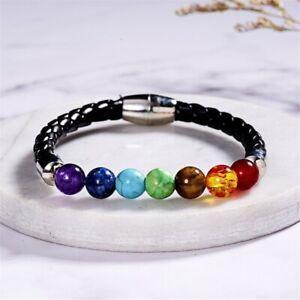 Reiki Bracelet Genuine 7 Chakra Beads Healing Weight loss Gemstone Magnetic Lock