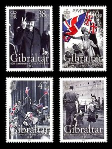 VE-Day-60th-Anniversary-WW-II-set-of-4-stamps-mnh-Gibraltar-2005-Churchill-KGVI