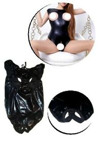 Senora-look-mojado-body-Catsuit-biquini-Bodysuit-disfraz-negro-efecto-piel-einheitsgr