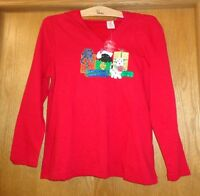 Woman's Sz 12/14 - Red Holiday Hoodie Top - T-shirt Weight - Gifts & Dogs Motif