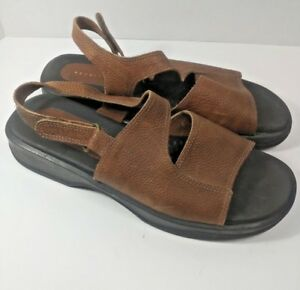 c38ac3162ea Details about VTG 90s Slides Brown Leather Stretch Chunky Shoes Sandals Sz  9.5